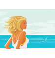 Blonde woman at the sea vector image