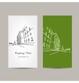 Business card design with cityscape sketch vector image