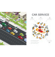 car service and traffic jam composition vector image