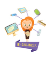 Cartoon Female Figurine Of IT Engineer vector image
