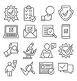 check and quality line icons on white background vector image vector image