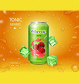 cherry cold drink metal can with juice splash vector image