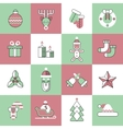 Christmas icons set flat line vector image vector image