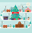 christmas urban and rural landscape vector image vector image