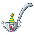 clown ladles on a wooden cartoon table vector image vector image