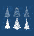 collection of white linear christmas trees on blue vector image vector image