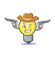 cowboy light bulb character cartoon vector image