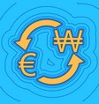 currency exchange sign euro and south korea won vector image vector image