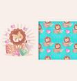 cute balion cartoon and seamless pattern set vector image vector image