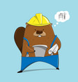 cute beaver in engineer character cartoon vector image