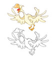 cute cockerel coloring book vector image vector image
