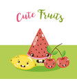 Cute fruits kawaii cartoons