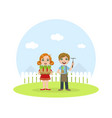 cute kids working in garden boy and girl caring vector image vector image