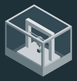 Dark isometric 3D printer vector image