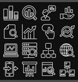 data analysis icons set on black background line vector image vector image