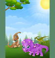 dinosaurs cartoon in the jungle vector image vector image