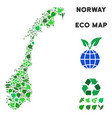 eco green mosaic norway map vector image vector image