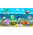 funny marine animals in sea with galleon vector image