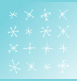 hand drawn set of snowflakes blue and white vector image vector image