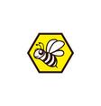 happy bee fly in a hexagon beehive icon vector image vector image