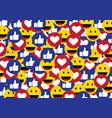 like smile heart emoticon social media background vector image vector image