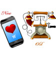 new and old phone vector image vector image