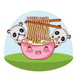 panda bear and food kawaii vector image