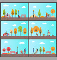 people strolling in autumn park with sunny weather vector image vector image