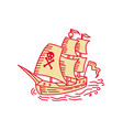 pirate sailing ship galleon mono line vector image vector image