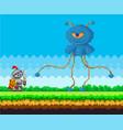 pixel game interface design evil blue monster vector image vector image