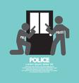 Policemen In Front Of The Door Symbol Illus vector image vector image
