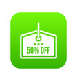 sale tag 50 percent off icon digital green vector image vector image