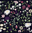 seamless hand-drawn doodle floral pattern vector image