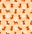 Seamless pattern with different breeds dogs