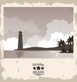 sepia color poster seaside with lighthouse and vector image vector image