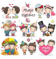 set cute cartoon boy and girl vector image