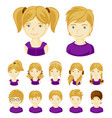 set of children faces vector image vector image
