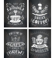 set of coffee quotes on the chalkboard vector image vector image