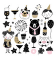 set of hand drawn new year or birthday graphic vector image