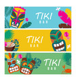 set summer banners with tiki masks and tropical vector image