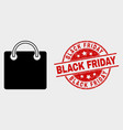 shopping bag icon and grunge black friday vector image vector image
