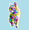 sticker colorful cat sitting looking side vector image vector image