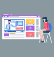studying online video icon woman with pc vector image