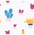 succulents and cacti plants seamless pattern vector image vector image