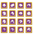 tent forms icons set purple square vector image vector image