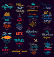traveling lettering adventure sign and vector image vector image