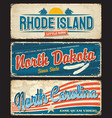 usa states rhode island dakota carolina plates vector image vector image