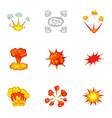 animation explosion icons set cartoon style vector image