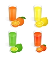 Fresh juices set Design elements for cafe and vector image