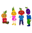 Emotion Fruits with children body vector image